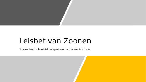 van zoonen feminist perspectives summary lesson media