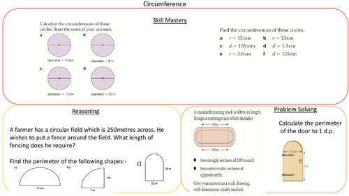 Circumference Skill, Reasoning and Problem Solving Worksheet