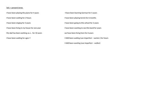 GCSE German - SEIT and prepositions - quick practice