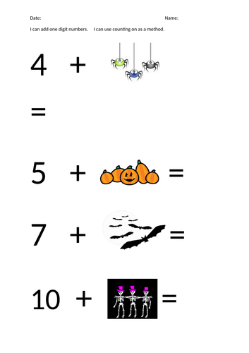 Halloween theme addition using counting on