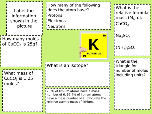 relative formula mass, isotopes + moles