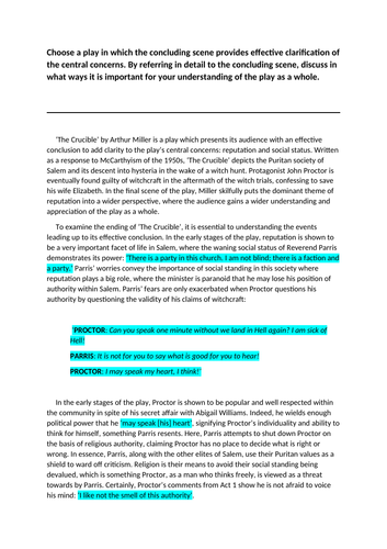 Higher English Model Essay: The Crucible (15/20)
