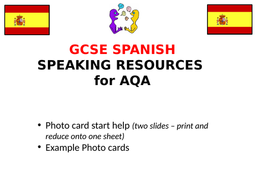 Spanish GCSE  Speaking  resources for AQA