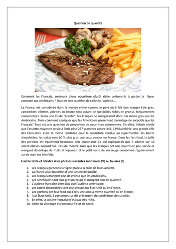 La cusine en France / Food in France / Food portions