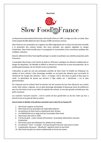 Slow Food / La nourriture / La cuisine en France / Food and drink