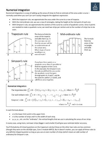 Numerical integration handout: trapezium rule, mid-ordinate rule, Simpson's rule