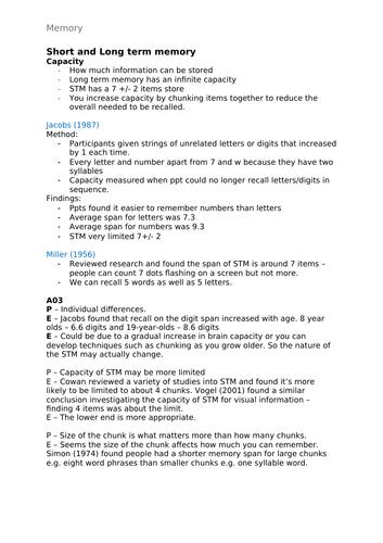 Psychology A-Level AQA 7181/7182 (New) - Memory Notes