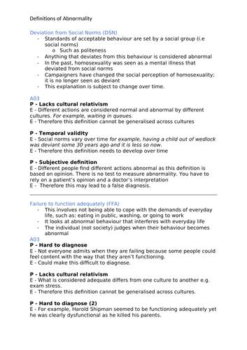 Psychology A-Level AQA 7181/7182 (New) - Psychopathology Notes