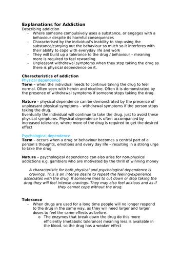 Psychology A-Level AQA 7181/7182 (New) - Addiction Notes