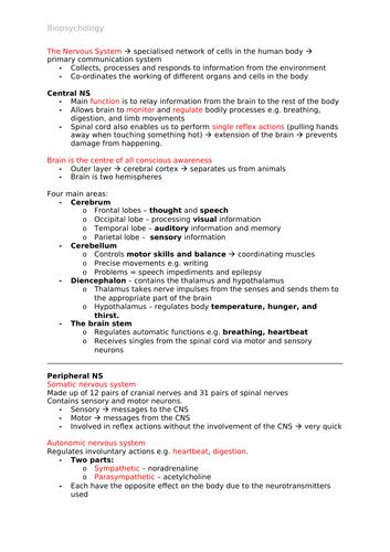 Psychology A-Level AQA 7181/7182 (New) - Biopsychology Notes