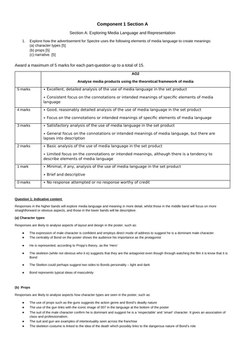 EDUQAS GCSE Media Studies Component 1 mock exam with mark scheme and DIRT / reflection booklet