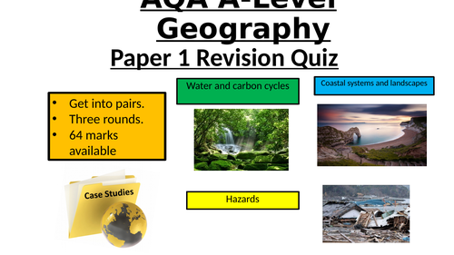 AQA Geography A Level - Paper 1 revision quiz