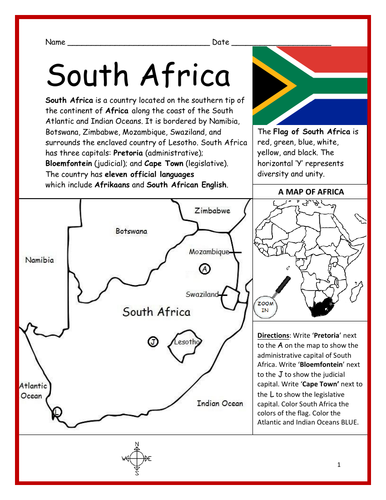 SOUTH AFRICA - Printable handout with map and flag on canada map directions, africa flowers, ancient greece map directions, africa hotels, england map directions, india map directions, africa history, asia map directions, california map directions, africa jobs, italy map directions, russia map directions, road map directions, africa news headlines, france map directions, earth map directions, united states map directions,
