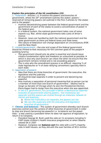 Edexcel Government and Politics - US Constitution and President Short Answer Essay Plans