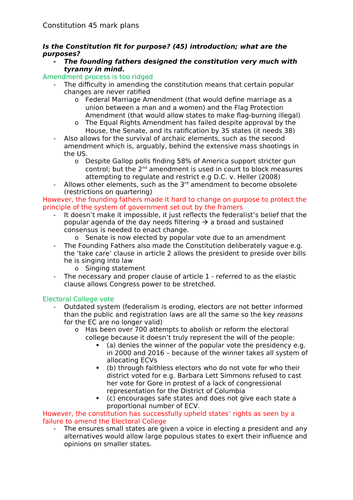 edexcel government and politics   us constitution and president  edexcel government and politics   us constitution long answer essay plans