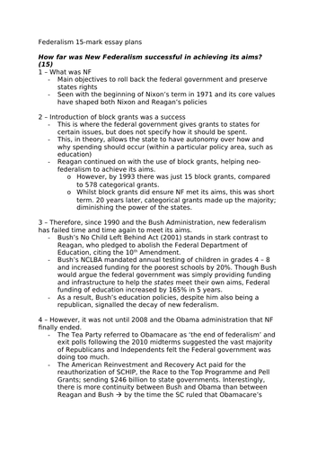 Edexcel Government and Politics - US Federalism Short Answer Essay Plans
