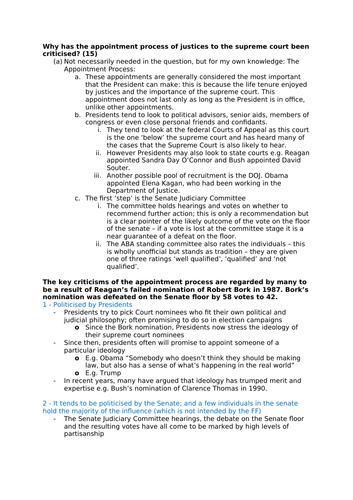 Edexcel Government and Politics - US Supreme Court Short Answer Essay Plans