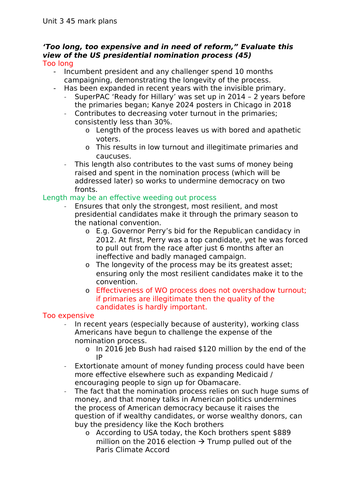 Edexcel Government and Politics - US Elections and Voting Long Answer Essay Plans