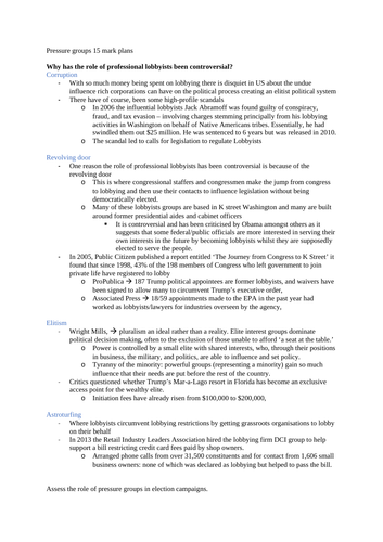 Edexcel Government and Politics -  US Pressure Groups Short Answer Essay Plans