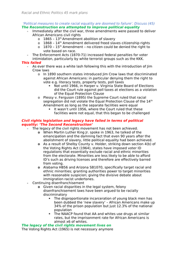 Edexcel Government and Politics - US Racial and Ethnic politics Long Answer Essay Plans