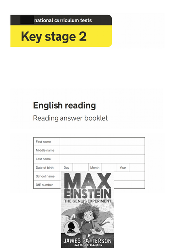 Year 6 Reading SATs paper Questions Max Einstein Fiction Test style Exam