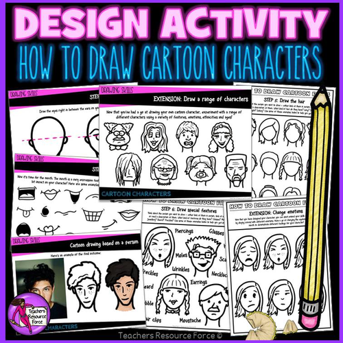 How to draw cartoon character heads and faces, step by step workbook and PowerPoint