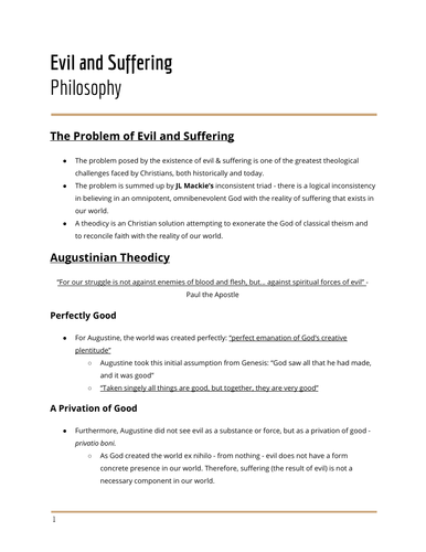 Evil and Suffering - Philosophy of Religion
