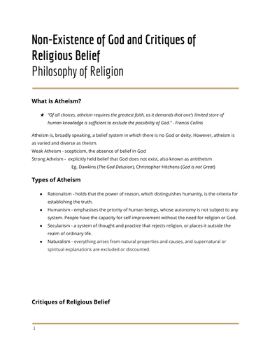 Critiques of Faith - Philosophy of Religion