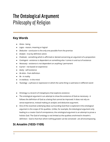 The Ontological Argument - Philosophy of Religion
