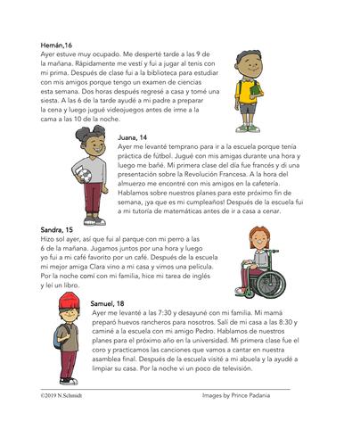 Spanish Preterite Reading + Worksheet: ¿Qué hiciste ayer? (Pretérito)