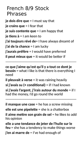 French 8/9 Stock Phrases & idioms