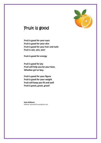 Fruit is good for you - Rhyme