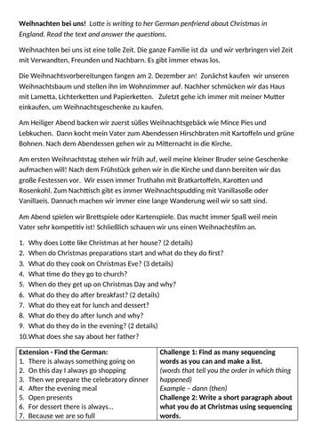 Weihnachten bei uns reading comprehension German GCSE Unit 4 Customs and Festivals