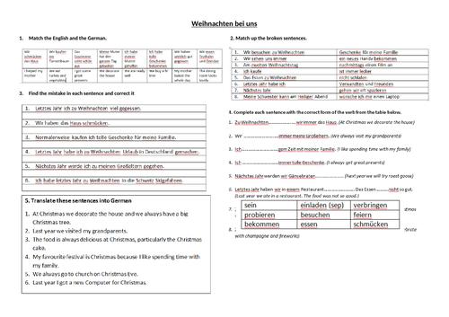 Weihnachten bei uns Reading and Translation activity sheet German GCSE Unit 4 Customs and Festivals