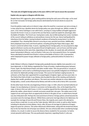 Tudors essay question - Band 5 response