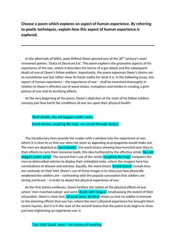 NAT 5 English Model Critical Essay: Dulce et Decorum Est (18/20)