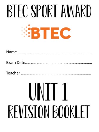 BTEC PE Award Unit 1 Student Notes Revision Booklet for Exam