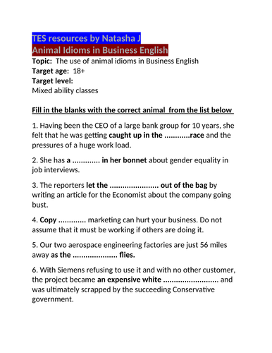 TES resources Animal Idioms in Business English