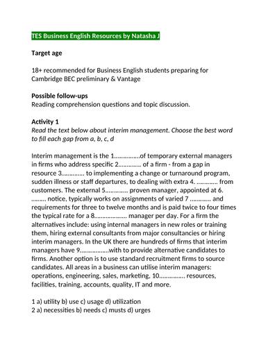 Business English  Interim management  by Natasha J