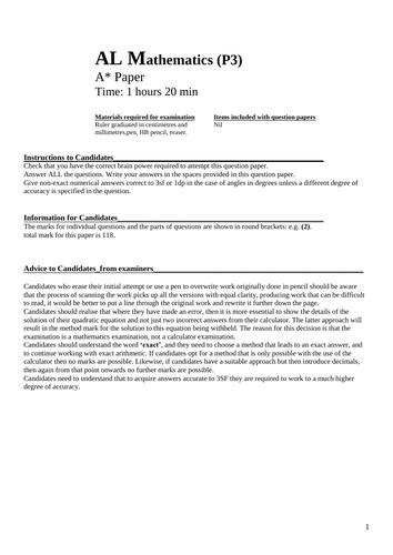 Difficult A Level Maths CIE paper