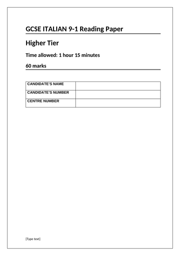 Italian Reading Paper - Higher (AQA style, 9-1)