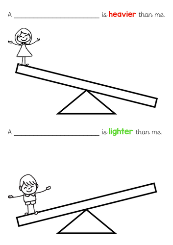 Year 1 / Year 2 Heavier and Lighter Worksheet