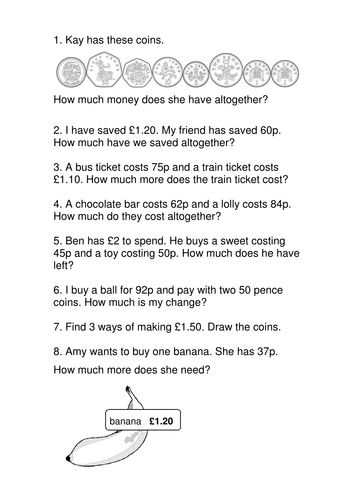 Year 2 Money Problems Lesson