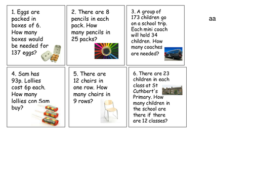 Year 3 and 4 word problems for division and multiplication
