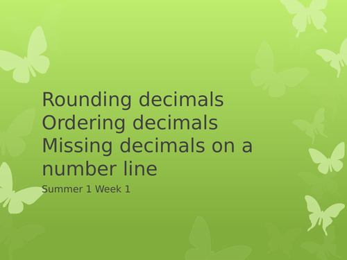 Powerpoint recapping decimals and finding missing decimals on a number line