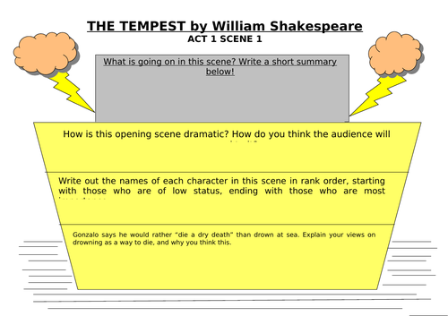 The Tempest Act 1 Scene 1 - first thoughts on the opening scene.