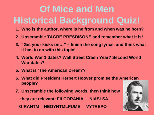 Of Mice and Men - Historical Background Quiz Powerpoint