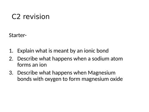 AQA C2 revision- ionic and metallic bonding