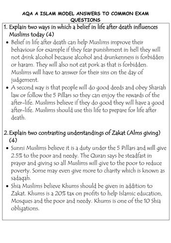 AQA (A) 9-1 GCSE Religious Studies MODEL ANSWERS ISLAM