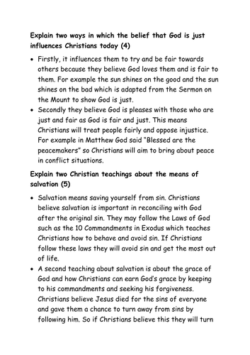 AQA A 9-1 MODEL ANSWERS GCSE RS CHRISTIANITY